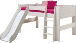 Dětská vyvýšená postel se skluzavkou Dany 90x200 cm - masiv/bílá