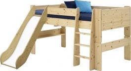 Dětská vyvýšená postel se skluzavkou Dany 90x200 cm - masiv