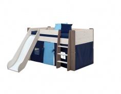 Dětská vyvýšená postel se skluzavkou Dany 90x200 cm - bílá/hnědá