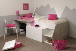 Dětská postel vyvýšená Evita  - bílá/šedá