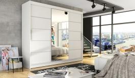 Šatní skříň ASTON VI bílá mat/zrcadlo