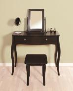 Toaletní stolek se zrcadlem a stoličkou Baroko - černá/hnědá