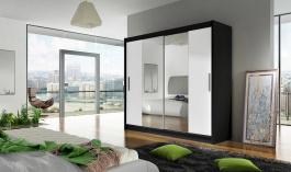 Šatní skříň BEGA II černá/bílá zrcadlo