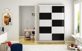 Šatní skříň MONTANA II bílá/černá
