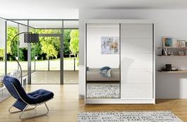 Šatní skříň VITO V bílá/bílá/zrcadlo