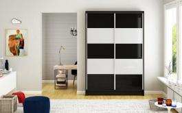 Šatní skříň MONTANA IV černá/bílá
