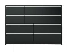 Velká komoda s 10 šuplíky Cloud 048 - černá/hnědá