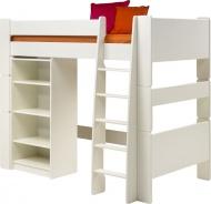 Vyvýšená postel s regálem Dany - bílá
