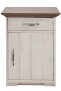 Noční stolek Hansen - bílá/hnědá