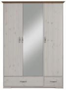 Šatní skříň Hansen 3D - bílá/hnědá