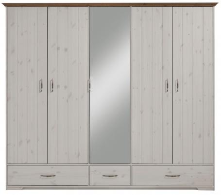 Šatní skříň Hansen 4D - bílá/hnědá