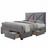 Luxusní postel s úložným prostorem, látka šedý melír, 160x200, XADRA