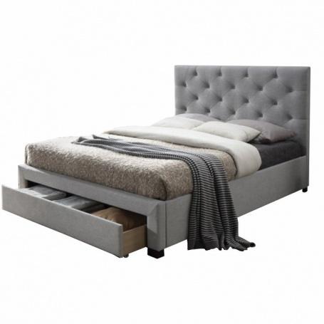 Moderní postel s úložným prostorem, šedá látka, 160x200, Santola