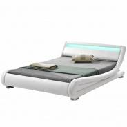 Moderní postel s RGB LED osvětlením, bílá, 180x200, FILIDA