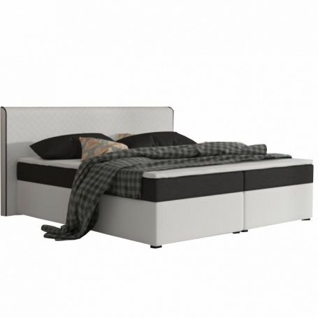 Komfortní postel, černá látka / bílá ekokůže, 160x200, NOVARA MEGAKOMFORT VISCO