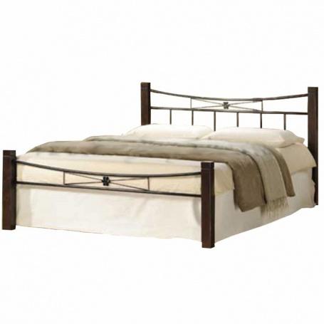Manželská postel, dřevo ořech / černý kov, 160x200, PAULA