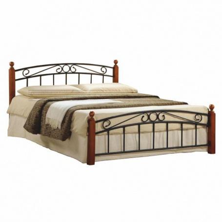 Manželská postel, třešeň/černý kov, 160x200, DOLORES