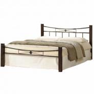 Manželská postel, dřevo ořech / černý kov, 140x200, PAULA