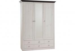 Šatní skříň Monako - 3D4S-bílá/tmavě hnědá