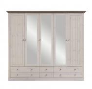 Šatní skříň Monako - 5D6S - bílá/hnědá