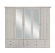 Šatní skříň Monako 5D6S - bílá