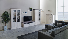 Obývací stěna Monako IV - bílá/hnědá