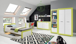 Dětský pokoj Twin - bílá/zelená