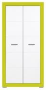 Dětská šatní skříň Twin - bílá/zelená