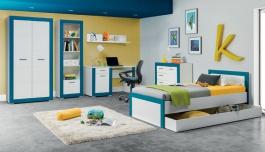 Dětský pokoj pro kluky Twin - bílá/modrá