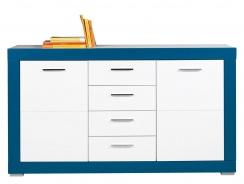 Dětská komoda Twin 2D4S - bílá/modrá
