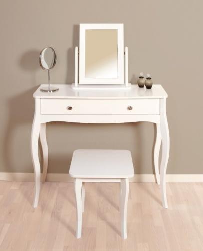 Toaletní stolek se zrcadlem a stoličkou Baroko - bílá