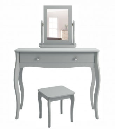 Toaletní stolek se zrcadlem se stoličkou Baroko - tmavě šedá