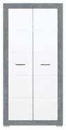 Dětská šatní skříň Twin - bílá/šedá