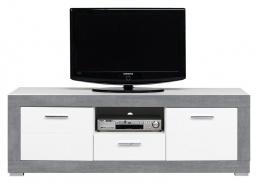 Televizní stolek Twin - bílá/šedá
