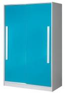 Šatní skříň s posuv. dveřmi GULLIWER 12 bílá/tyrkys lesk