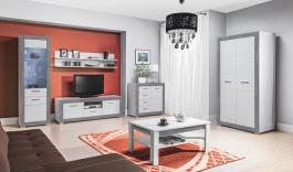 Obývací sestava s osvětlením Twin - bílá/šedá