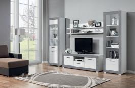 Obývací sestava s osvětlením Twin II - bílá/šedá