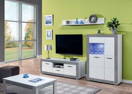 Obývací sestava Twin III - bílá/šedá