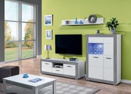 Obývací sestava s osvětlením Twin III - bílá/šedá