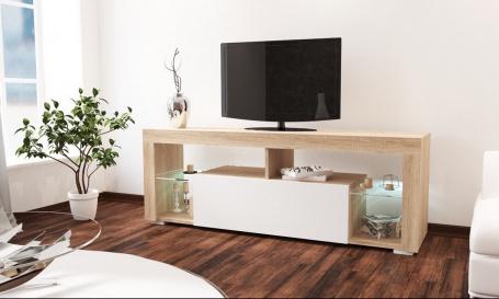 Televizní stolek VEGAS sonoma/bílý lesk