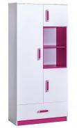 Kombinovaná skříň TRAFICO 3 bílá/růžová