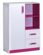 Komoda vysoká TRAFICO 6 bílá/růžová