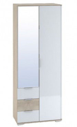 Šatní skříň 2-dveřová TERRA sonoma/bílá lesk