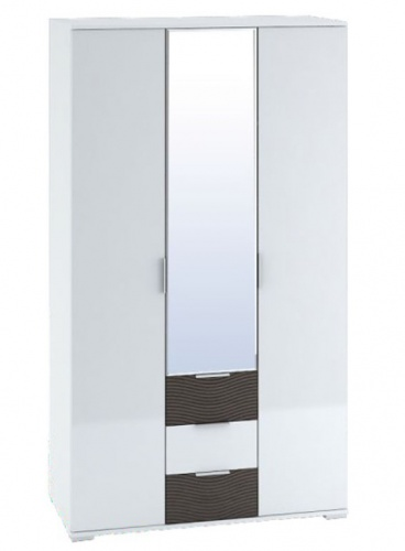 Šatní skříň 3-dveřová TERRA wenge/bílá lesk