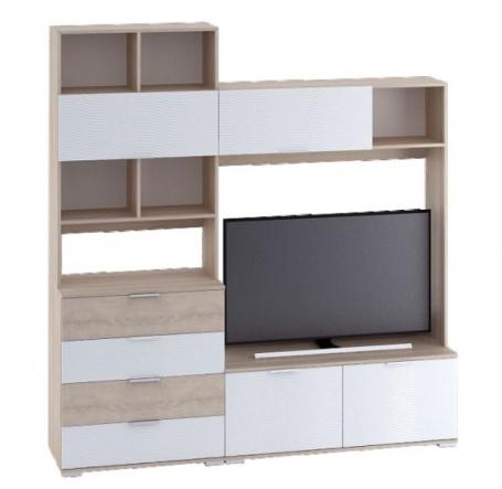 Televizní stěna TERRA sonoma/bílá lesk