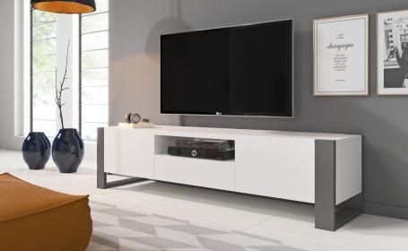 Televizní stolek NUKI bílá/grafit