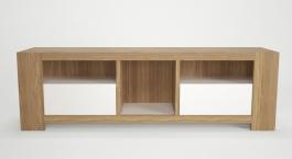 Televizní stolek Kampa - dub/bílá