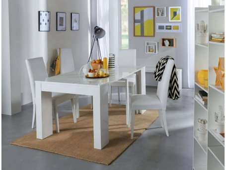 Jídelní stůl s rozkládáním Penny - bílý lesk