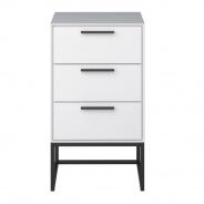Noční stolek Lina se 3 zásuvkami - bílo/černý