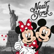 Polštářek Mickey a Minnie v New Yorku 40x40cm